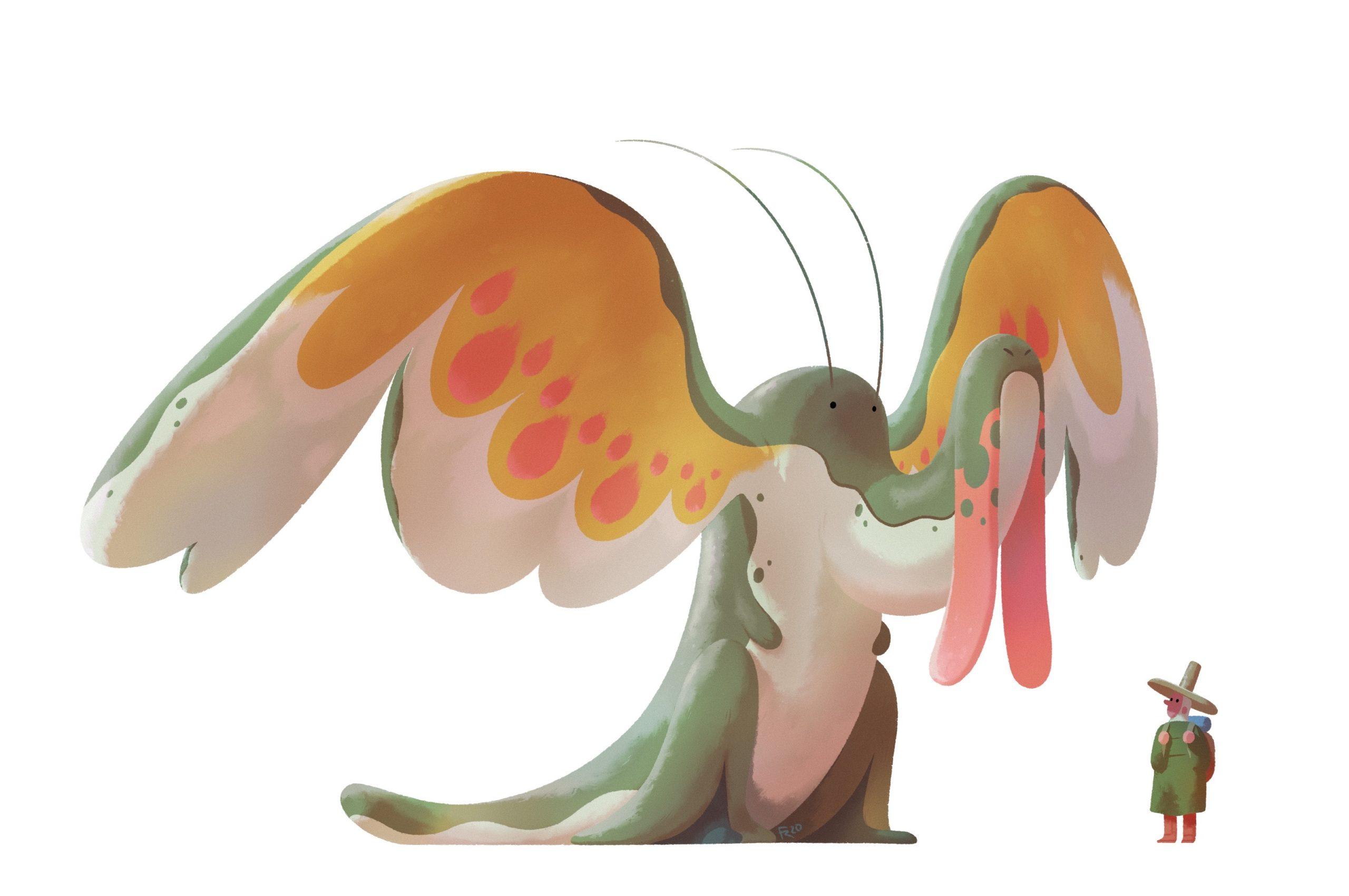 Criatura fantástica mezcla de ave, dragón y cocodrilo