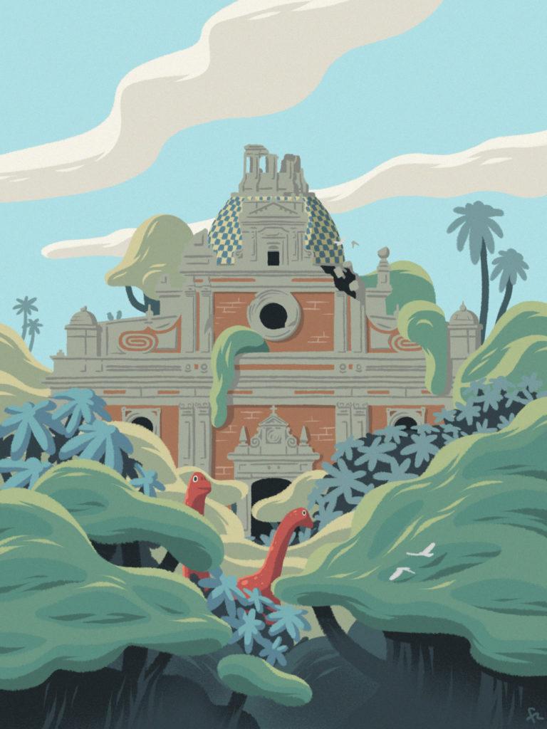 Ilustración de la iglesia sevillana de El Salvador rodeada de jungla y dinosaurios