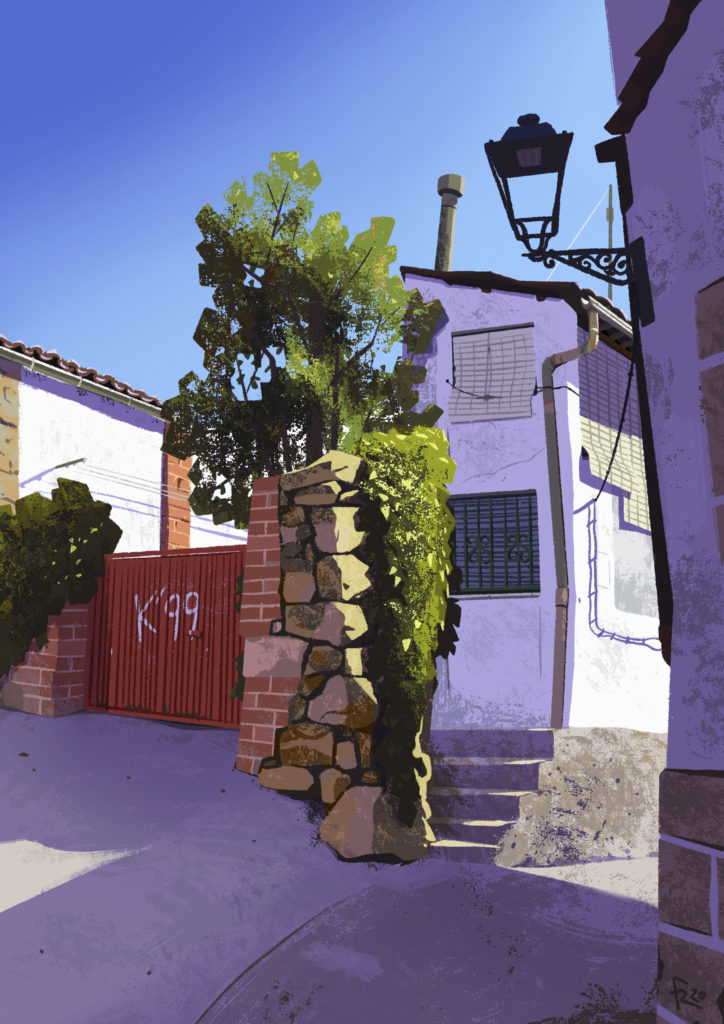 Ilustración de un edificio de El Torno en el Valle del Jerte, España