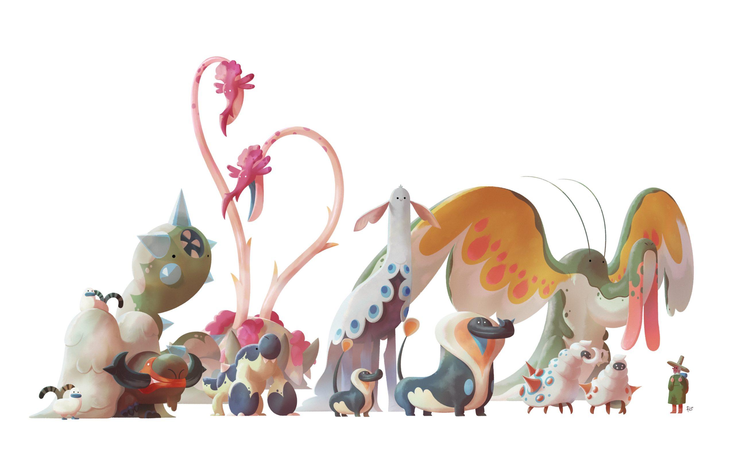 Conjunto de criaturas fantásticas con humano para referencia