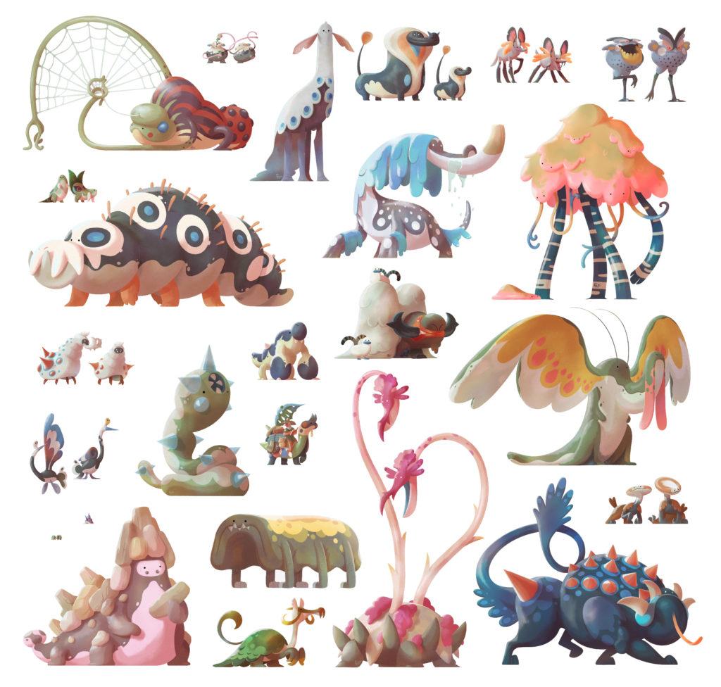 Conjunto de criaturas fantásticas