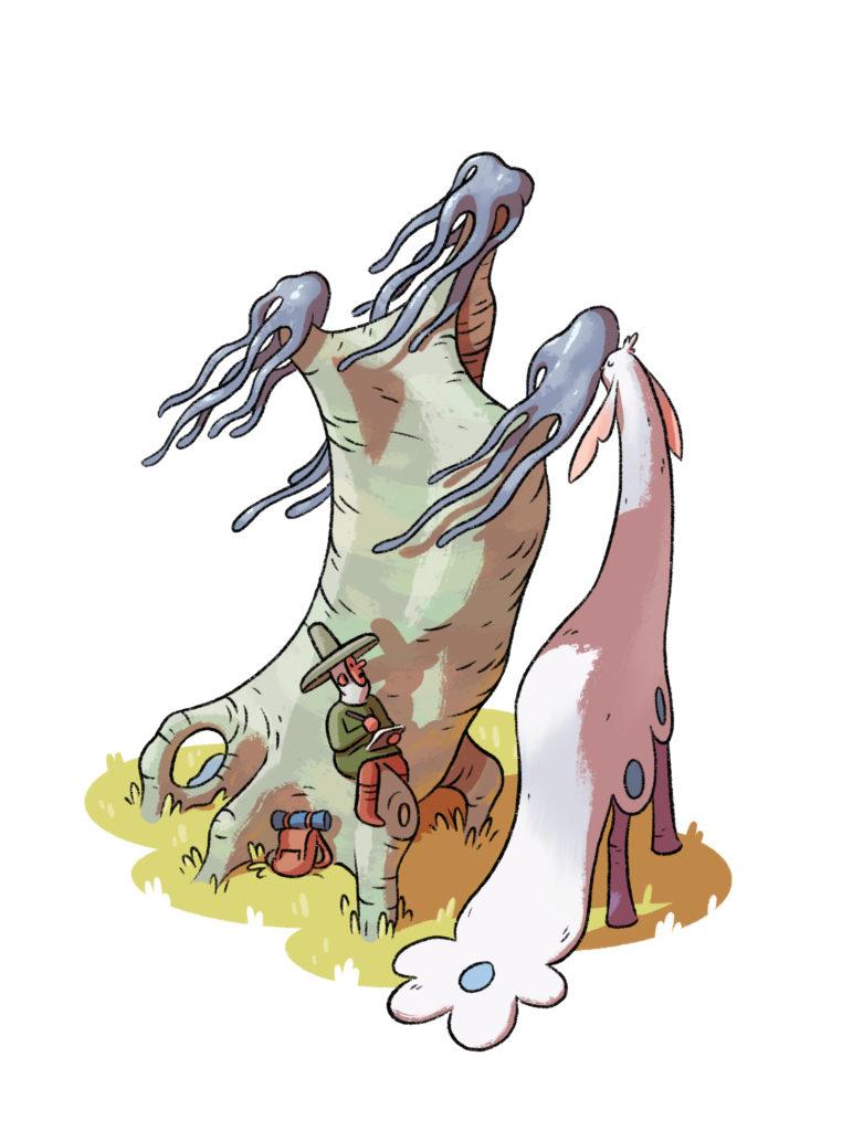El naturalista dibuja a un animal que se alimenta junto a un árbol