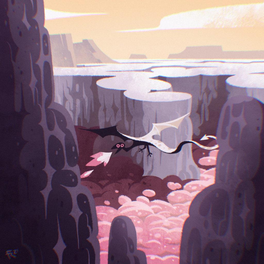 Ilustración de un dragón sobrevolando un cañón rocoso
