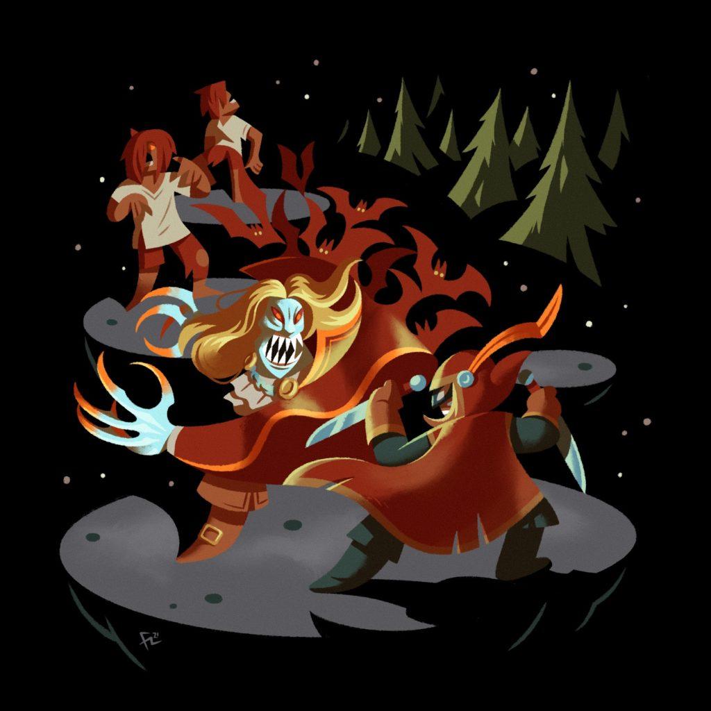 Ilustración de un pícaro luchando contra un vampiro basados en el videojuego Loop Hero