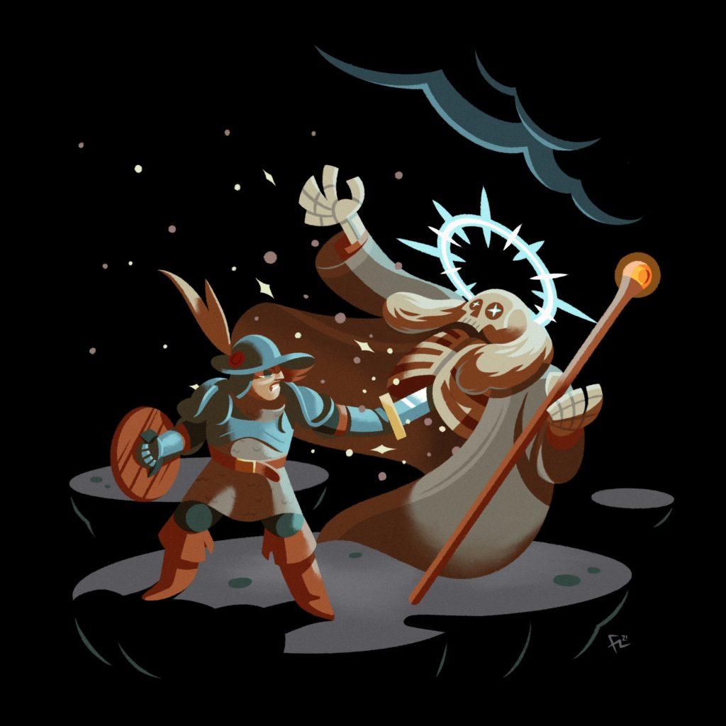 Ilustración de un guerrero luchando contra un Lich basados en el videojuego Loop Hero