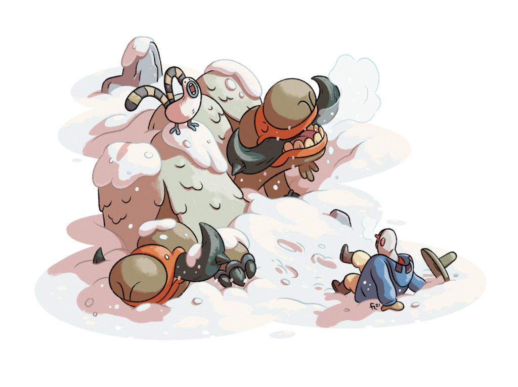 El naturalista es sorprendido por dos animales que se escondían bajo la nieve