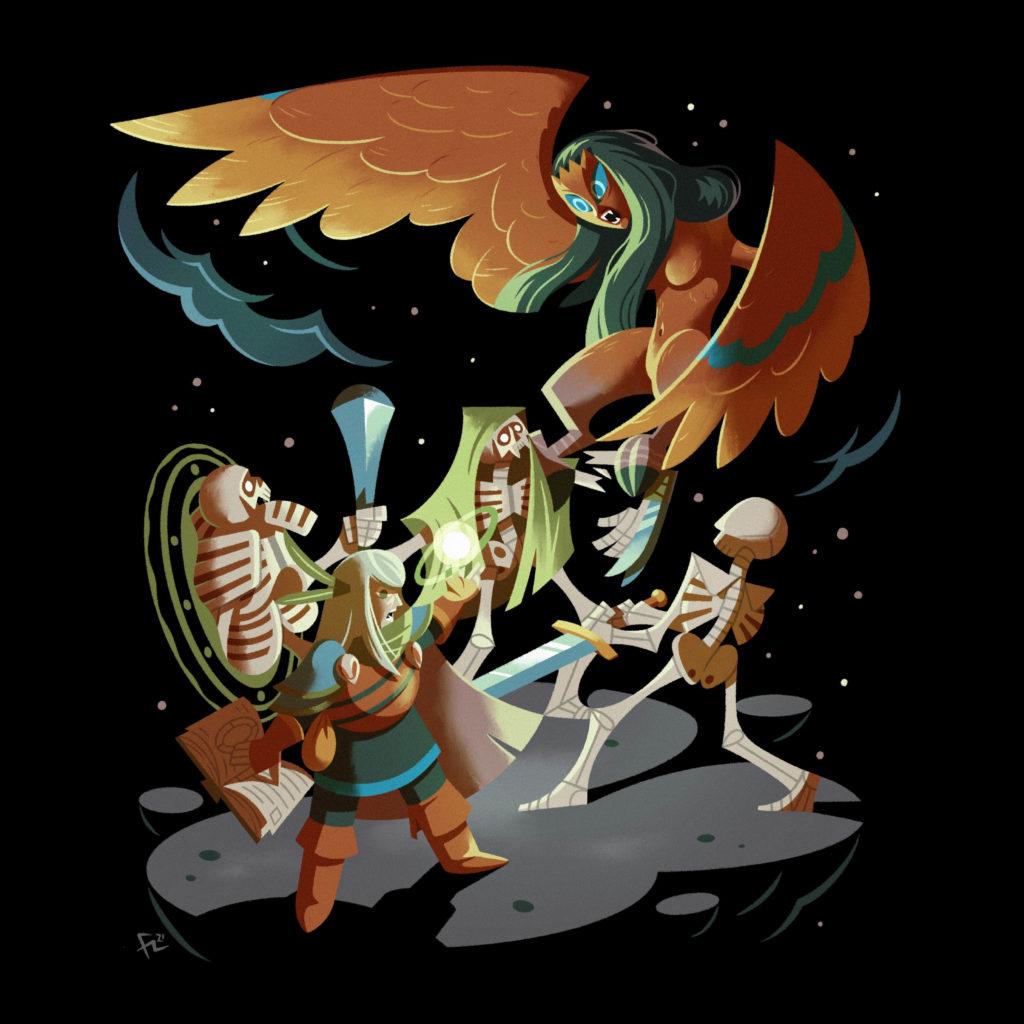 Ilustración de una arpía luchando contra una nigromante basados en el videojuego Loop Hero