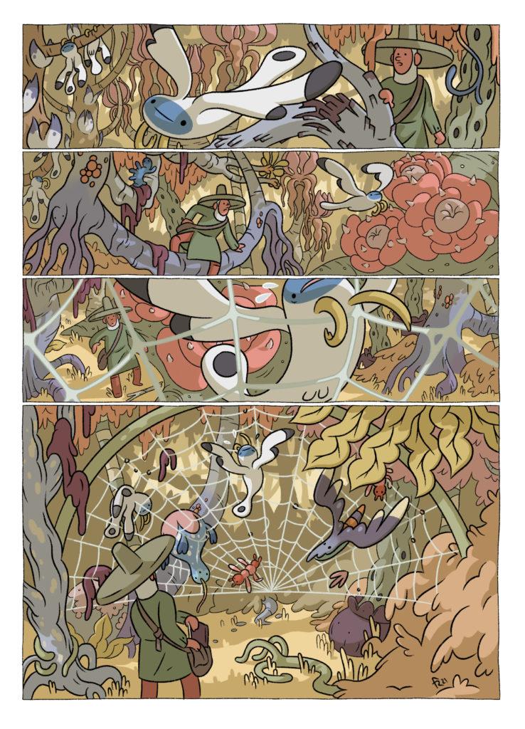 Página de comic en la que el naturalista persigue a un animal volador por la selva, hasta que la criatura queda atrapada por una telaraña gigante